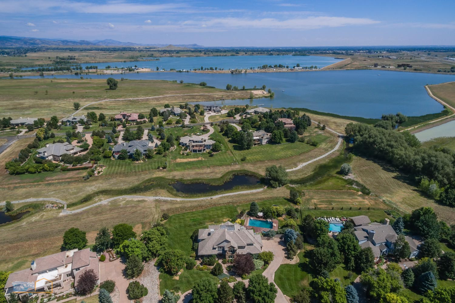 Real Estate Aerial Photos Boulder Neighborhood and Reservoir