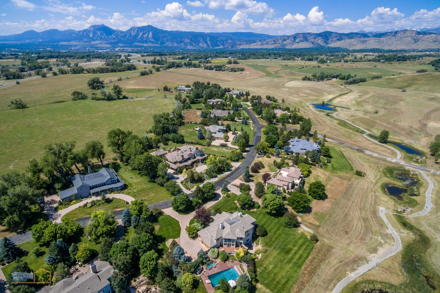 Real Estate Aerial Photos Boulder Neighborhood and Flatirons